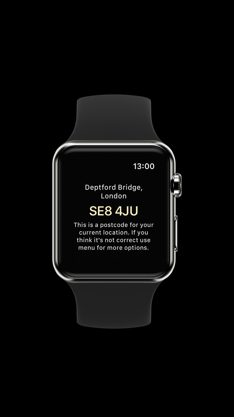 apple watch postcode