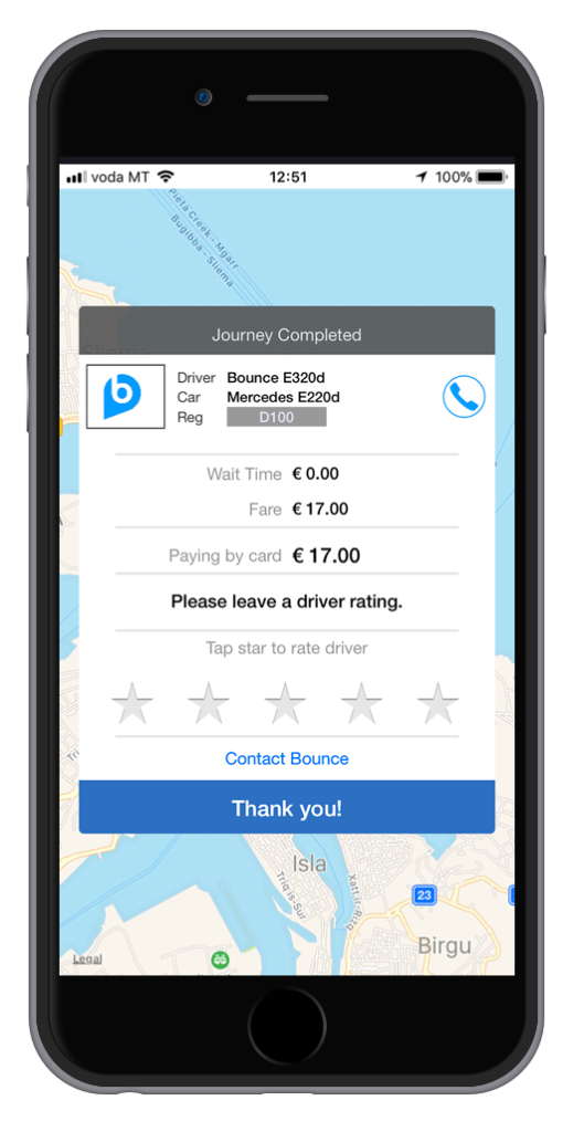 Taxi Payment Screen
